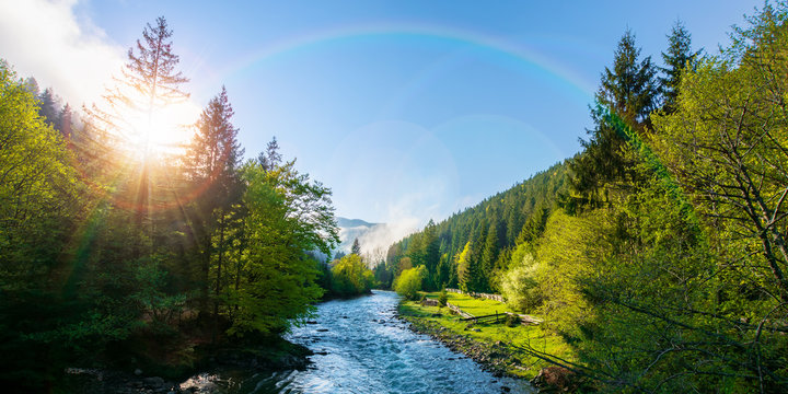 mountain river on a misty sunrise. fantastic nature scenery with fog rolling beneath a rainbow above the trees in fresh green foliage on the shore in the distance. beautiful countryside panorama