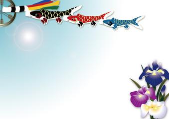 5月の端午の節句青空と鯉のぼりと菖蒲の花のイラスト横スタイル背景素材