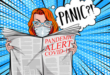 """""""Pandemic alert COVID-19"""". Pretty woman reading tabloid newspaper with safe face-mask, panic, shocking stories, scaremongering. Vector illustration in pop art style."""