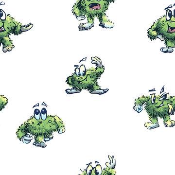 Litlle green CoronaVirus monster