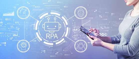 Robotic process automation concept with business woman using a tablet computer