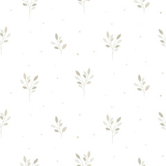 Poster Artificiel Floral seamless pattern with tiny branches. Vector white neutral background.