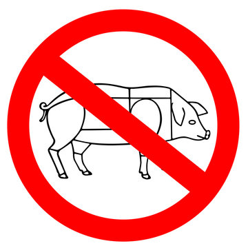 No animal meat sign, vegetarian concept