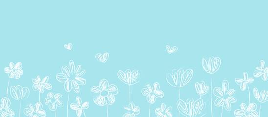 Draw vector banner white line of flower on blue for spring.