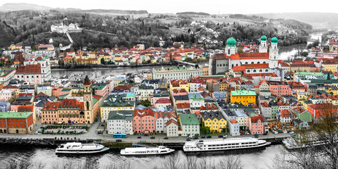 Travel and landmarks of Germany - boat cruise over Danube river, Passau town