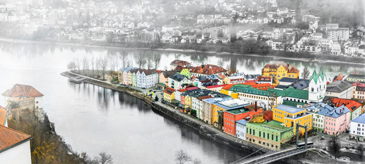 Landmarks and beautiful old towns of Germany - Passau in Bavaria. Artistic toned picture Fotobehang