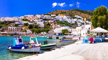 Traditional colorful Greece - travel in Leros Island, scenic Panteli village with fishing boats