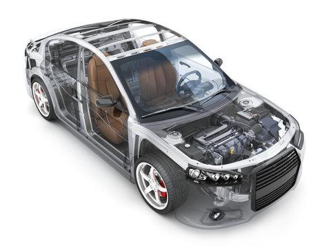 Transparent body car and interior parts