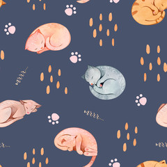 Hand painted watercolor seamless pattern with sleeping cats and paws