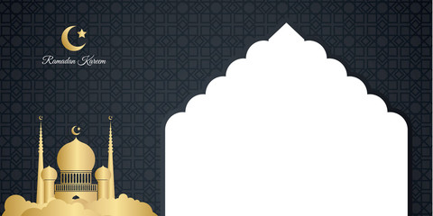 Ramadan kareem background elegant design with copy space for greeting card, presentation background, flyer, banner, poster, wallpaper. Vector illustration with mosque, star, moon, abstract pattern. Lu Fototapete