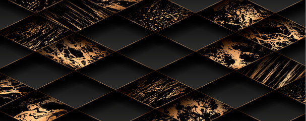 Luxury paper cut background, Abstract decoration, golden pattern, halftone gradients, 3d Vector illustration. Black, white, blue, gold waves Cover template, geometric shapes, modern minimal banner.