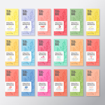 Fruit and Berries Tea Labels Collection. Abstract Vector Packaging Design Layouts Set with Realistic Shadows. Modern Typography, Hand Drawn Tea Leaves Silhouettes Background. Beverage Emblems.