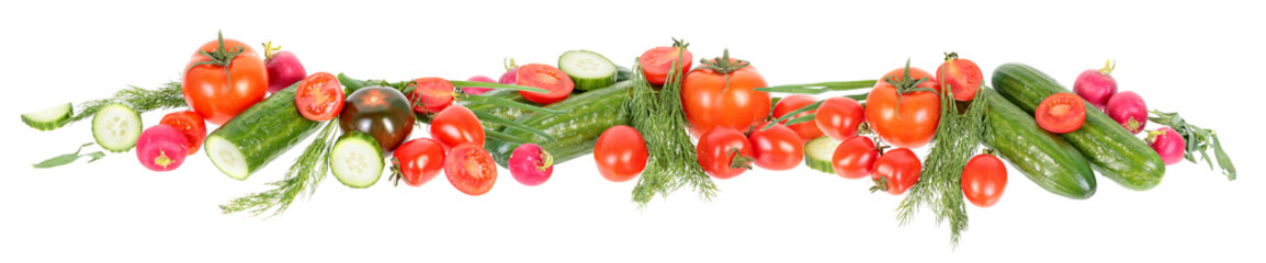 Papiers peints Légumes frais Vegetables border. Fresh green cucumbers, different red tomatoes and bundle of green dill leaves isolated on white background. Ingredients for vegetable salad