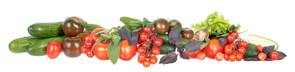 Photo sur Toile Légumes frais Vegetables border. Fresh different red tomatoes, green cucumbers, purple and green basil and sage leaves isolated on white background. Ingredients for vegetable salad