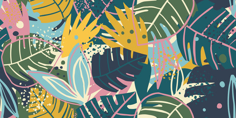 Contemporary exotic leaves seamless pattern collage design. Creative tropical leaf wallpaper.
