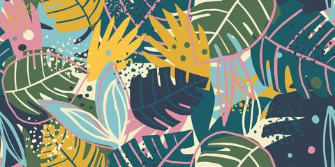 Conception de collage de modèle sans couture de feuilles exotiques contemporaines. Fond d& 39 écran créatif de feuilles tropicales.