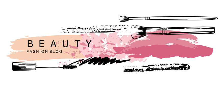 Cosmetics and fashion banner with  mascara, lipstick and make up brush strokes