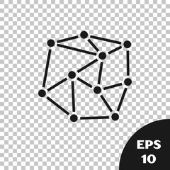 Black Neural network icon isolated on transparent background. Artificial Intelligence. Vector Illustration