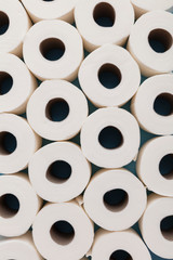 Toilet paper roll background. overhead flat lay.