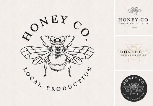 Logo Layout Set with Bee Illustration