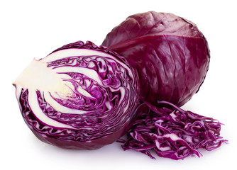Fototapete - Fresh red cabbage on white background