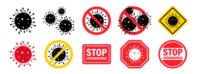 Coronavirus. Virus. Icons set.COVID-2019. Outbreak coronavirus. Pandemic, medical, healthcare, Stop Coronavirus concept. Corona virus 2019-nCoV. Vector illustration.