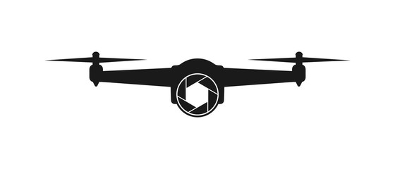 Simple vector icon of a drone with a camera, for logo, applications and web sites