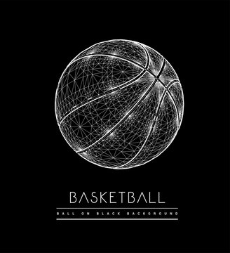 Basketball ball from lines and dots. Polygonal mesh vector 3d illustration