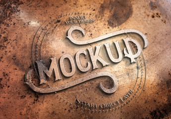 Copper Metal Text Effect Mockup