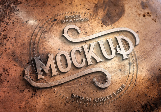 Copper Metal Text Effect Mockup
