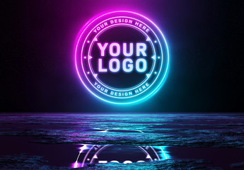 Reflective Neon Logo Mockup
