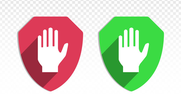Shield with hand block or adblock - flat icon for apps and websites