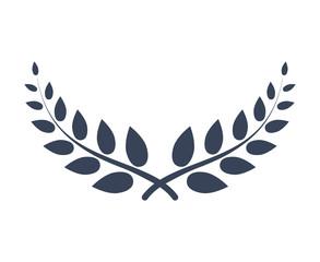 Laurel wreath vector award branch victory icon. Winner laurel wreath vintage leaf emblem. Champion glory bay leaf.