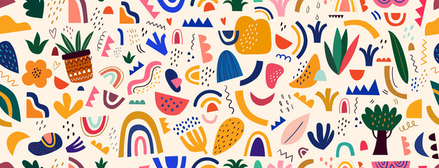 Decorative abstract seamless pattern with colorful doodles. Hand-drawn modern illustration