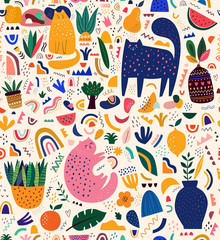 Fototapete - Cute spring seamless pattern with cat. Decorative abstract illustration with colorful doodles. Hand-drawn modern illustration with cats, flowers, abstract elements