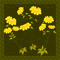 Yellow petals. Light green leaves. Long stems. Flowers on a dark green background. The edges of the background are decorated. Frame of strips. Wavy pattern of empty circles along the illustration.