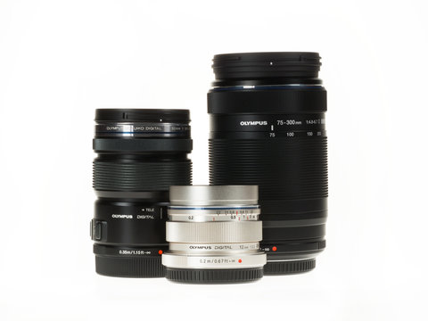 Istanbul, Turkey - January 29, 2014: Olympus Micro 4/3 lenses are isolated on white background.