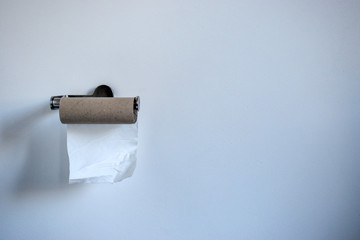 Out of toilet paper. Toilet paper panic buying, hoarding concept