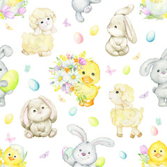 Chicken, duckling, Easter eggs, chamomile, flowers, sheep, bunnies. Seamless pattern, on an isolated background. Watercolor drawing for the Easter holiday.