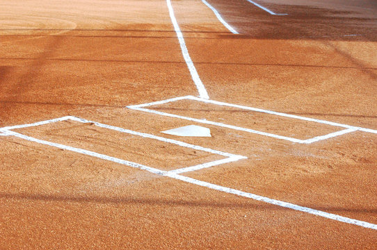 Softball Infield with Chalk Lines