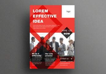 Corporate Flyer Layout with Red Geometric Elements