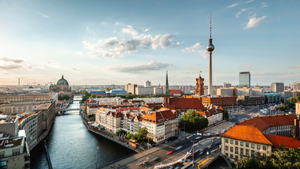 Wall Murals Berlin Berlin skyline panorama with TV tower and Spree river at sunset, Berlin, Germany