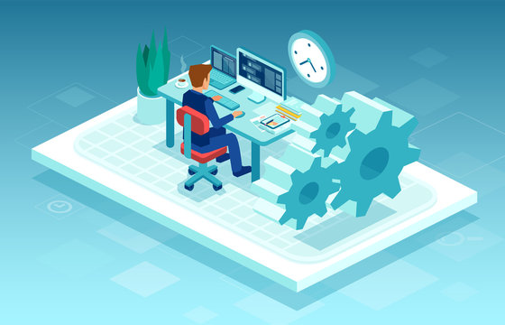 Vector of a man working on pc at his desk, freelancing from home