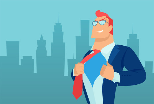 Vector of a super hero business man on a cityscape background