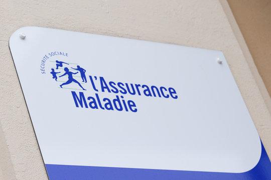 l'assurance maladie blue logo sign social security text Illness branch
