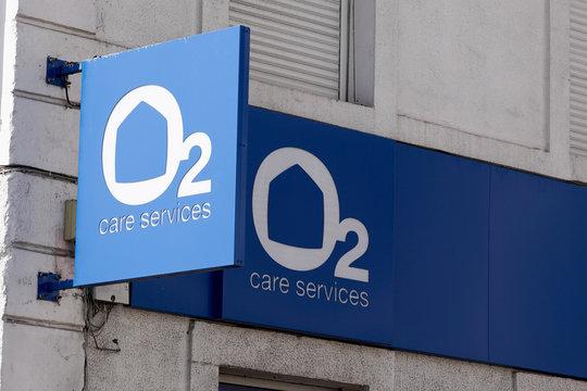 Bordeaux , Aquitaine / France - 03 11 2020 : 02 care services blue logo sign home service store shop office