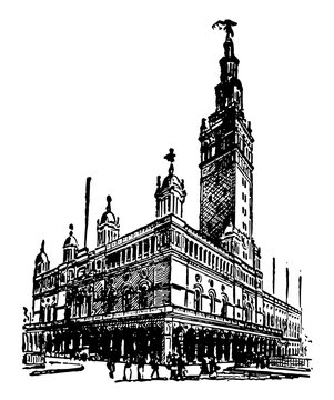 Madison Square Garden is a architecture building in New York, vintage engraving.