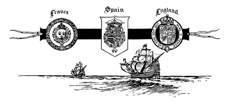 The Seals of France, Spain, and England, vintage illustration