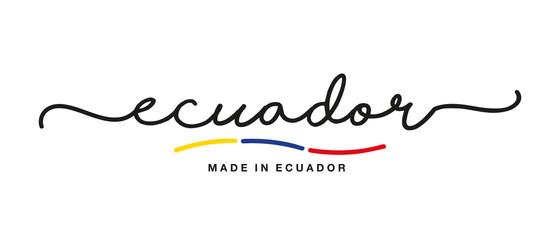 Made in Ecuador handwritten calligraphic lettering logo sticker flag ribbon banner Wall mural