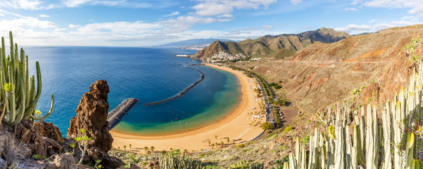 Photo sur Toile Iles Canaries Canary islands Tenerife beach Teresitas sea travel traveling panorama Atlantic Ocean